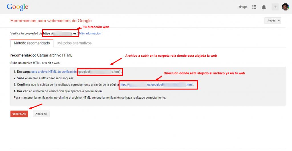 Como dar de alta mi web en la Herramientas para webmasters de Google.Demostrar la propiedad del sitio