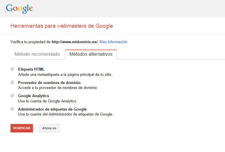 Métodos alternativos para agrgar mi web en la Herramienta de webmasters de Google   Demostrar la propiedad del sitio