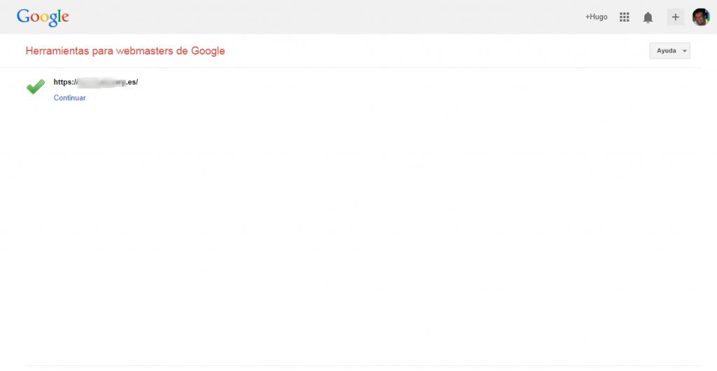 Como dar de alta mi web en la Herramientas para webmasters de Google.Demostrar la propiedad del sitio.Verificación correcta