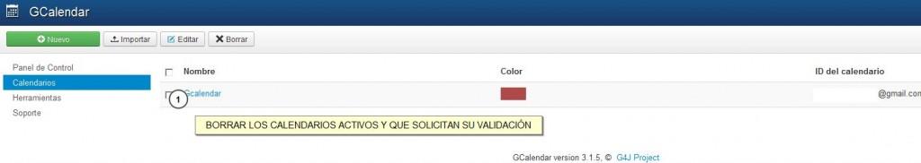 Calendarios Gcalendar activos con Error 403 Forbidden Administración - Joomla GCalendar