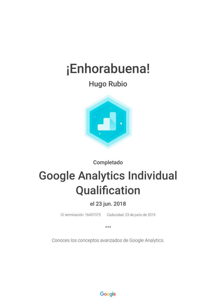 Certificación Oficial Google Analytics Individual Qualification
